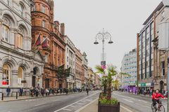 Wide-angle shot of Dame Street in Dublin city centre. DUBLIN, IRELAND - April 12th, 2018: wide-angle shot of Dame Street in Dublin city centre Stock Photography