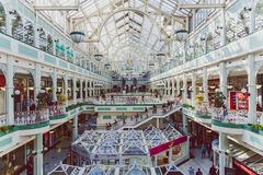 Wide-angle view of the interior of Stephen`s Green shopping cent. DUBLIN, IRELAND - April 14th, 2018: wide-angle view of the interior of Stephen`s Green shopping Stock Images