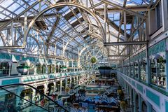 Wide-angle view of the interior of Stephen`s Green shopping cent. DUBLIN, IRELAND - April 14th, 2018: wide-angle view of the interior of Stephen`s Green shopping Stock Photography