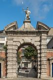 Monumental entrance gate to central castle square, Dublin Irelan Stock Image