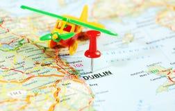 Dublin Ireland, avião do mapa de Reino Unido Fotos de Stock Royalty Free
