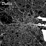 Dublin Ireland City Map Black e bianco Immagine Stock Libera da Diritti