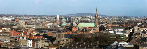 Dublin Ireland city skyline panorama. Panoramic skyline view of the city of Dublin, Ireland Royalty Free Stock Photo