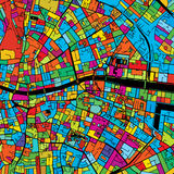 Dublin, Ireland, Colorful Vector Map on Black Royalty Free Stock Photography