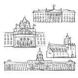 Dublin Ireland Famous Buildings. Monochrome Outlined Travel Landmarks, Scalable Vector Illustration vector illustration