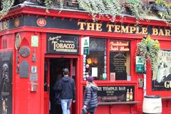 Dublin Ireland, February 20 2018: View of a famous pub, at the Temple Bar area in central Dublin. Temple Bar is promoted Stock Image