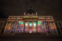 Dublin, Ireland, 30 January 2016 THE CUSTOM HOUSE. Light shows, New Year`s Festival stock image