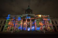 Dublin, Ireland, 30 January 2016 THE CUSTOM HOUSE. Light shows, New Year`s Festival stock photography