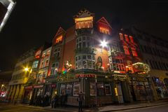DUBLIN, IRELAND - JANUARY 1, 2017: O`neills Bar is a famous bar in Dublins cultural quarter visited by thousands of tourists every royalty free stock image
