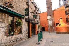 Old Jameson Distillery, Dublin. DUBLIN, IRELAND - JULY 12, 2016: Entrance to the Old Jameson Distillery, Smithfield Square in Dublin, Ireland. The original site Royalty Free Stock Images