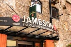 Old Jameson Distillery, Dublin. DUBLIN, IRELAND - JULY 12, 2016: Entrance to the Old Jameson Distillery, Smithfield Square in Dublin, Ireland. The original site stock photo