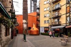 Old Jameson Distillery, Dublin. DUBLIN, IRELAND - JULY 12, 2016: Entrance to the Old Jameson Distillery, Smithfield Square in Dublin, Ireland. The original site royalty free stock photo