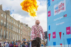 Dublin, Ireland - July 13: Fire-eater in The Laya Healthcare Royalty Free Stock Images