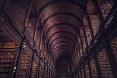DUBLIN, IRELAND - JULY 14, 2018: The Long Room in the Trinity C. Ollege Library on July 14, 2018 in Dublin, Ireland Stock Photos