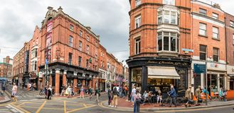Panoramic view of the Butlers Chocolate cafe and commercial center at Wicklow st and William St at the city center of