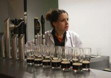 Multiple glasses of beer served for tasting Stock Photo