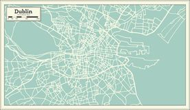 Dublin Ireland Map en estilo retro libre illustration