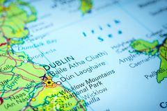Dublin in Ireland on a map. Of Europe Royalty Free Stock Image