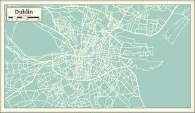 Dublin Ireland Map i Retro stil royaltyfri illustrationer