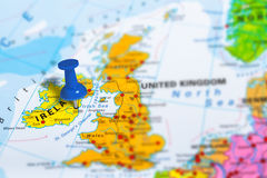 Dublin Ireland map. Dublin in Ireland pinned on colorful political map of Europe. Geopolitical school atlas. Tilt shift effect royalty free stock photo