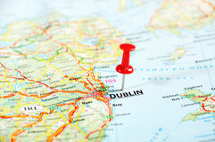Dublin Ireland, mapa de Reino Unido Imagen de archivo