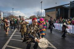 Dublin, Ireland 17 March 2019 St Patrics Day Parade. African community in traditional Nigerian costumes celebrating St. Patrics Day on a parade in Dublin stock image