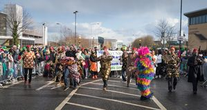 Dublin, Ireland 17 March 2019 St Patrics Day Parade. African community in traditional Nigerian costumes celebrating St. Patrics Day on a parade in Dublin stock photo