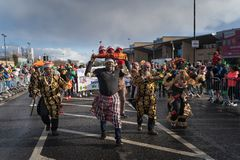 Dublin, Ireland 17 March 2019 St Patrics Day Parade. African community in traditional Nigerian costumes celebrating St. Patrics Day on a parade in Dublin royalty free stock images