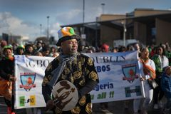 Dublin, Ireland 17 March 2019 St Patrics Day Parade. African community in traditional Nigerian costumes celebrating St. Patrics Day on a parade in Dublin stock photography