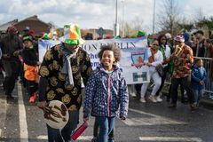 Dublin, Ireland 17 March 2019 St Patrics Day Parade. Father and daughter celebrating St Patrics Day on a parade royalty free stock photos