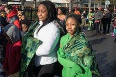 Dublin, Ireland 17 March 2019 St Patrics Day Parade. Girl with painted green shamrocks on face celebrating St Patrics Day on a parade royalty free stock photos