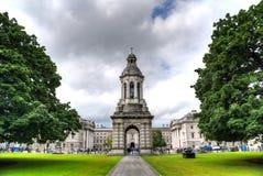 Trinity College in Dublin, Ireland. Dublin, Ireland - May 29, 2017: The courtyard of Trinity College and the Campanile of Trinity College in Dublin, Ireland on royalty free stock photos
