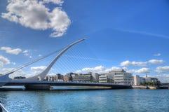 Samuel Beckett Bridge over the river Liffey. DUBLIN, IRELAND - MAY 30, 2017: The Samuel Beckett Bridge over the river Liffey stock photos