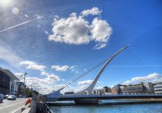 Samuel Beckett Bridge over the river Liffey. DUBLIN, IRELAND - MAY 30, 2017: The Samuel Beckett Bridge over the river Liffey royalty free stock image