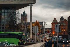 Landmarks and city street in Dublin