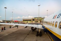 Ryanair Boeing 737-800 airplane in Dublin Airport Royalty Free Stock Photography