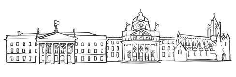 Dublin Ireland Panorama Sketch vector illustration