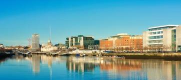 Dublin, Ireland, panoramic view over Liffey river on a bright da Royalty Free Stock Photos