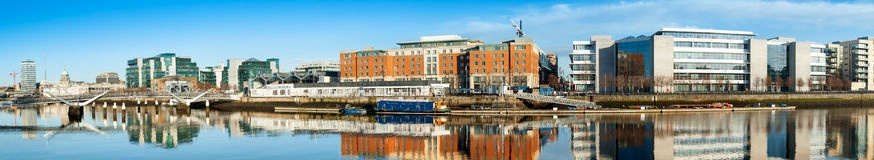Dublin, Ireland, panoramic view over Liffey river on a bright da Royalty Free Stock Photo