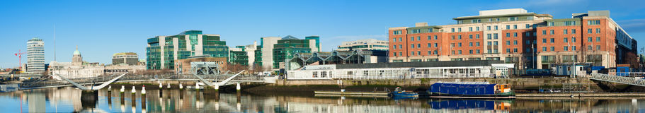 Dublin, Ireland, panoramic view over Liffey river with modern bu Royalty Free Stock Photo