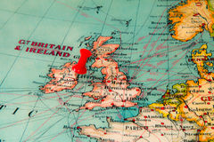 Dublin, Ireland pinned on vintage map of Europe Royalty Free Stock Photography