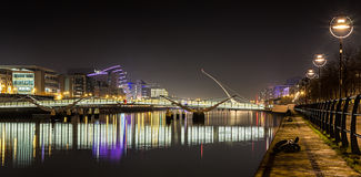 Dublin Ireland River Liffey at Night. With rectangular reflections on the water Stock Photography