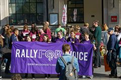 March For Choice by the Abortion Rights Campaign ARC. Dublin, Ireland- 30 September 2017: March For Choice by the Abortion Rights Campaign ARC. The royalty free stock image