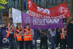 March For Choice by the Abortion Rights Campaign ARC. Dublin, Ireland- 30 September 2017: March For Choice by the Abortion Rights Campaign ARC. The royalty free stock photos