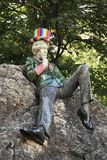 The Oscar Wilde statue in a colorful rainbow hat. DUBLIN. IRELAND - September 11 ,2018 : Merrion Square, The Oscar Wilde statue wearing a colorful rainbow hat in stock images