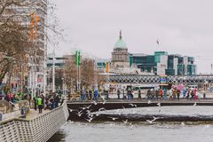 The Custom House building in Dublin city centre, river Liffey an Royalty Free Stock Image