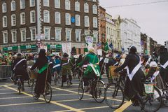 Performers and crowd participating in the 2018 Saint Patrick`s p Royalty Free Stock Images