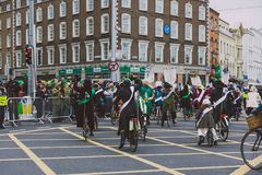 Performers and crowd participating in the 2018 Saint Patrick`s p Royalty Free Stock Photos