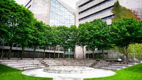Dublin, Ireland. Trees, green space, college, modern building, ampitheatre Royalty Free Stock Photo