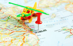 Dublin Ireland  ,United Kingdom  map airplane. And  pin - Travel concept Royalty Free Stock Photos